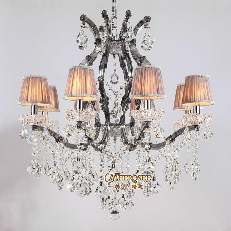 Ihausexpress 8 lights smoky gray color crystal chandelier light prev aloadofball Images