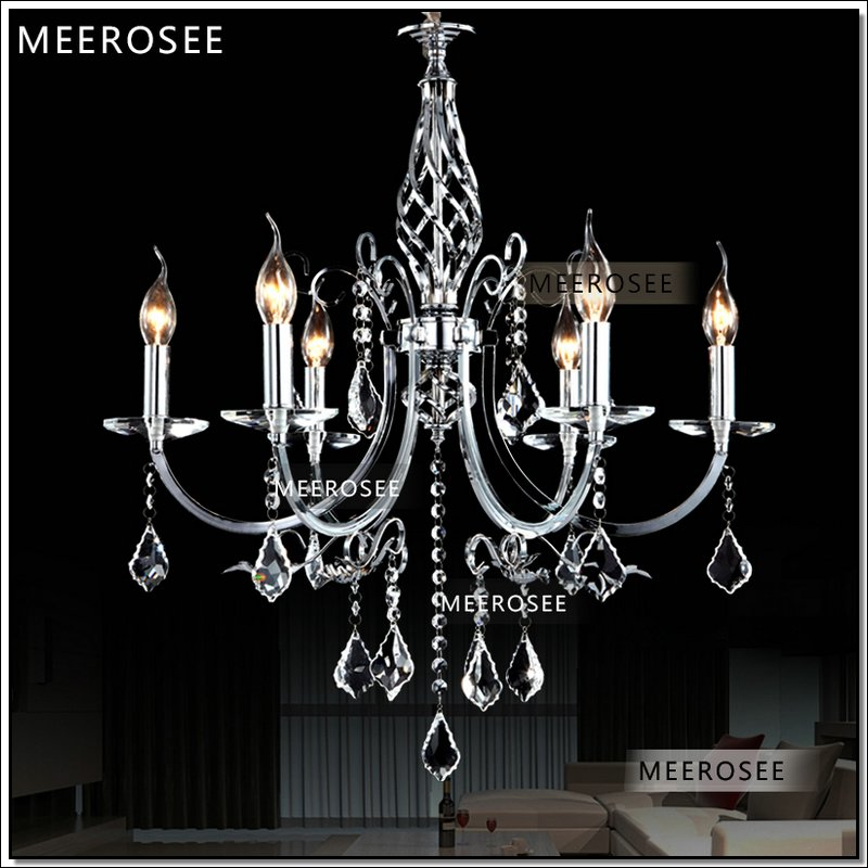 Ihausexpress small 6 arms wrought iron silver crystal chandeliers categories mozeypictures Images
