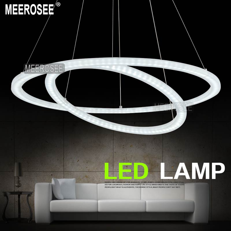 ihausexpress white acrylic led light fixture 2 rings led chandelier light lustre md5000 energy. Black Bedroom Furniture Sets. Home Design Ideas
