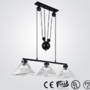 Adjustable industrial style glass shade pendant lamp